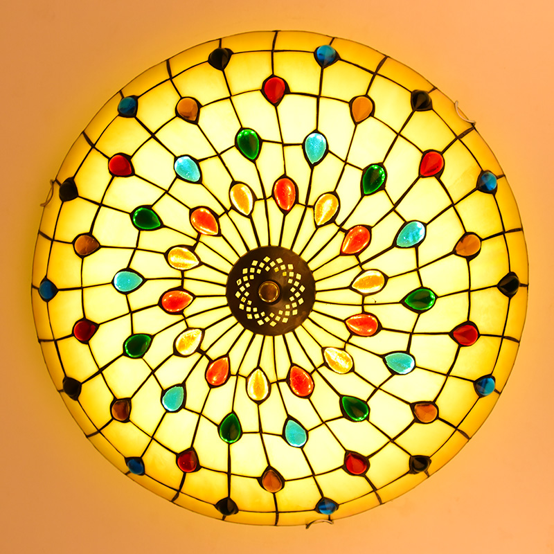 Tiffany Mediterranean style peacock natural shell ceiling lights lustres night light led lamp floor bar home lighting