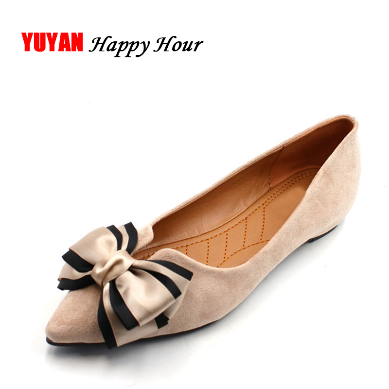 New 2018 Fashion Flats Women Boat Shoes Elegant Pointed toe Butterfly Knot Single Shoes Women's Flats Ladies Plus Size 41 ZH2675 new arrival spring autumn plus size 11 12 13 14 15 16 17 18 19 20 fashion elegant butterfly knot super high heels single shoes
