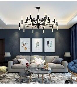 Image 2 - Современная модная дизайнерская Потолочная люстра черного и золотого цвета, Подвесная лампа в стиле арт деко светильник кухни, гостиной, лофта, спальни