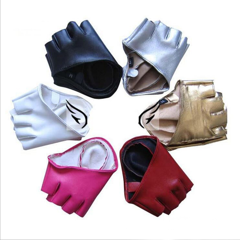 2017 Hot Sale Men Women Sexy Night Club Gloves Gothic Punk Rock Pole Dancing Show PU Leather Half Finger Fitness Gloves G205