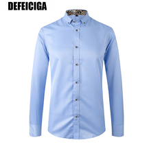 2019 DEFEICIGA Men Casual Long Sleeved Solid shirt Slim Fit Male Social Dress Shirt Brand Clothing Soft Comfortable 051