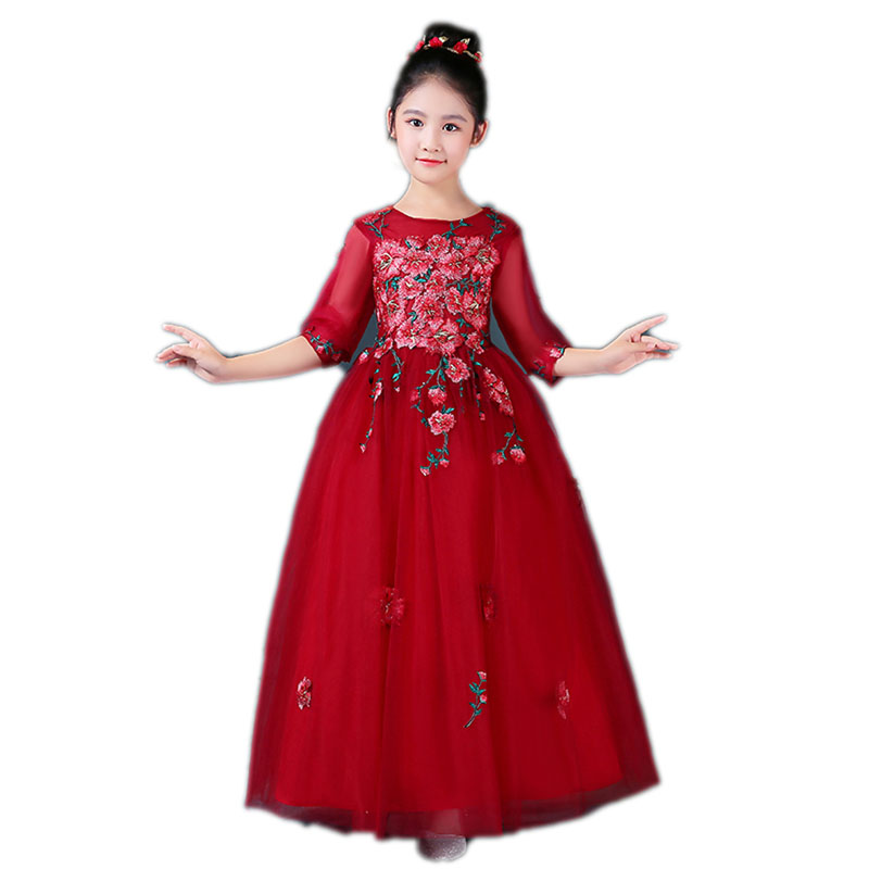 2018 Girls First Holy Communion Dresses For Girls Embroidery Flower Dresses Kids Ball Gowns Wedding Party Children Clothing E108
