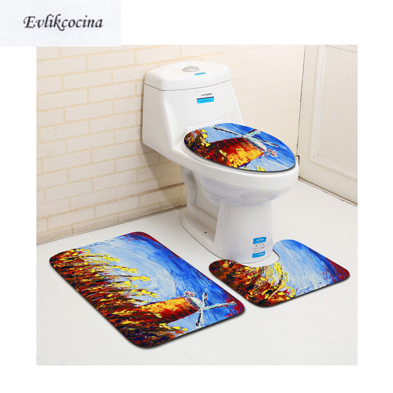 Free Shipping 3pcs Flowers Windwill Banyo Paspas Bathroom Carpet Toilet Bath Mat Set Non Slip Tapis Salle De Bain Alfombra Bano