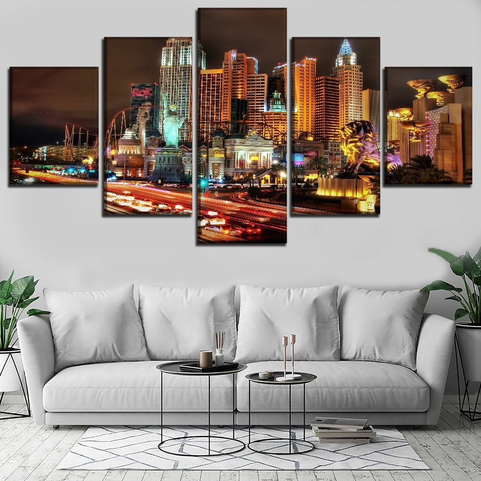 Home Decor Las Vegas Modern Cityscape Canvas Print Painting Wall Art Poster 5pcs Home Decor Vintage Sea Life Home Decor Posters Prints
