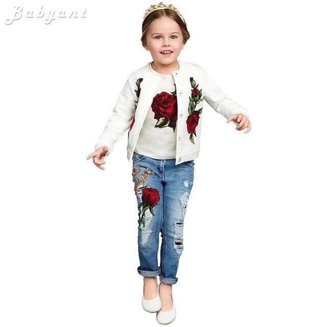 2016 Весна/Осень Мода Марка Lemon/Роза печати Девушки Одежда 3 шт. детская одежда набор 3-13Y Дети Одежда футболка + пальто + джинсы
