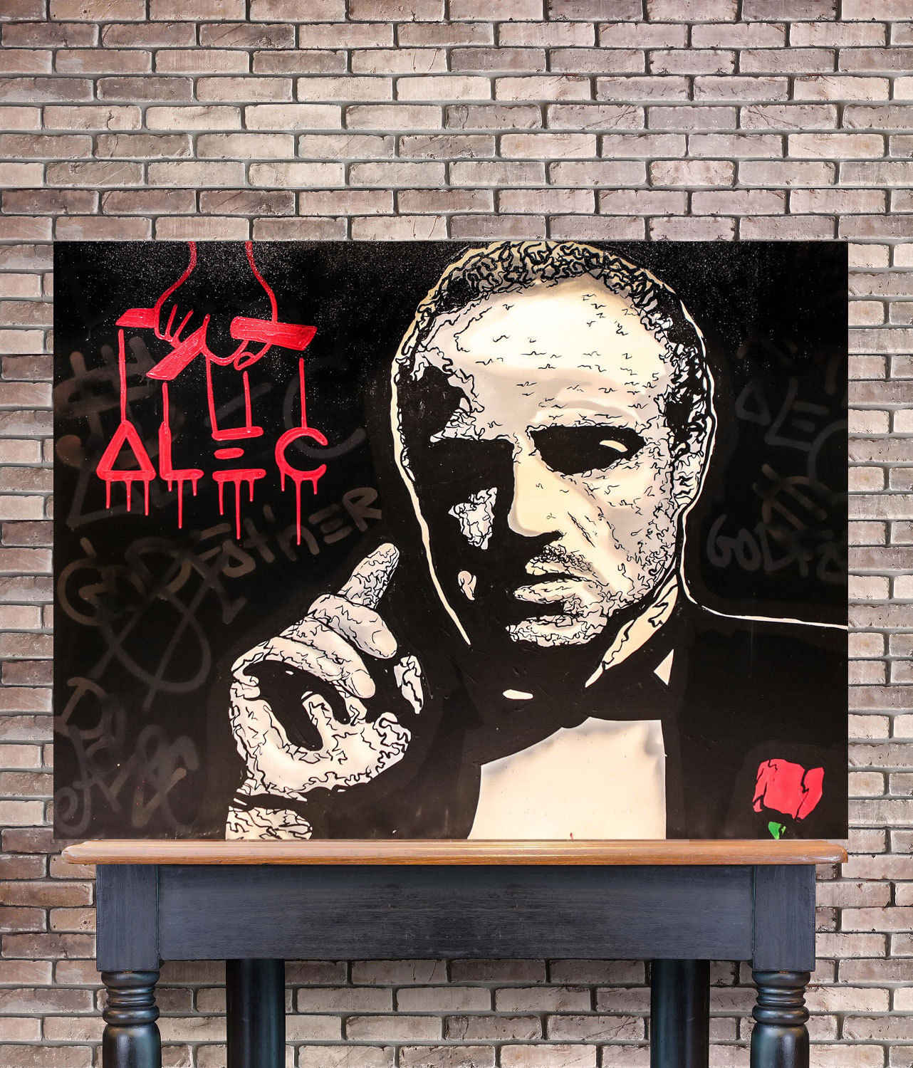 Alec Monopolys The Godfather Abstract Wall Art Oil Painting Poster Canvas Painting Print Pictures for Living Room Home Decor