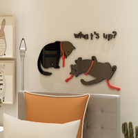 Kitties are Playing Acrylic Wall Stickers DIY Cat Sticker for Living Room Kindergarten Pet Shop Wall Window Decoration