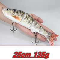 25 cm 135g Nuovo Artificiale Esche Big Fishing Lure 4 Segmento affondamento Swimbait Crankbait Esca Dura di Slow Grande Gioco Pesce Esca ganci