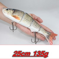 25cm 135g New Artificial Bait Big Fishing Lure 4 Segment Sinking Swimbait Crankbait Hard Bait Slow