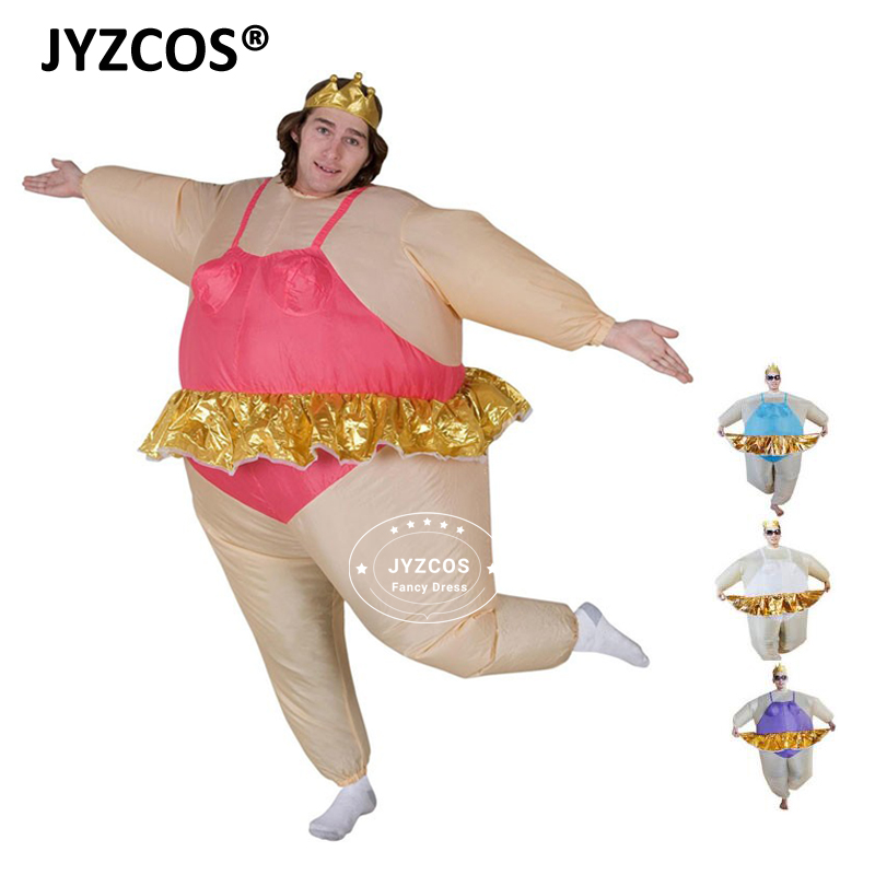 JYZCOS Костюм Балерины для Для мужчин Для женщин тиара Корона забавные надувные Костюм взрослых Airblown забавные надувные костюм жира наряды