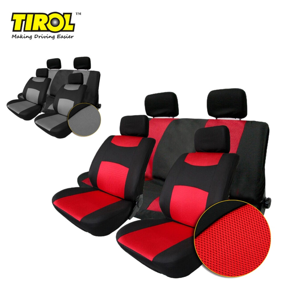 tirol t22507b breathable universal car seat cover black gray red 10pcs seat covers for. Black Bedroom Furniture Sets. Home Design Ideas