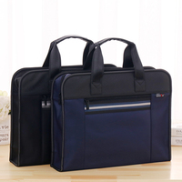High Capacity A4 Zipper Men Briefcase Document Bags Portable Business Travel Document Bag Multifunctional Waterproof Canvas Bag