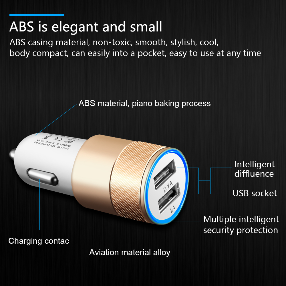 OLAF Dual USB Car Charger Universal 2.1A Fast Mini Metal Tavel Mobile Phone Car-Charger For iPhone 6 6s 7 plus Samsung Xiaomi