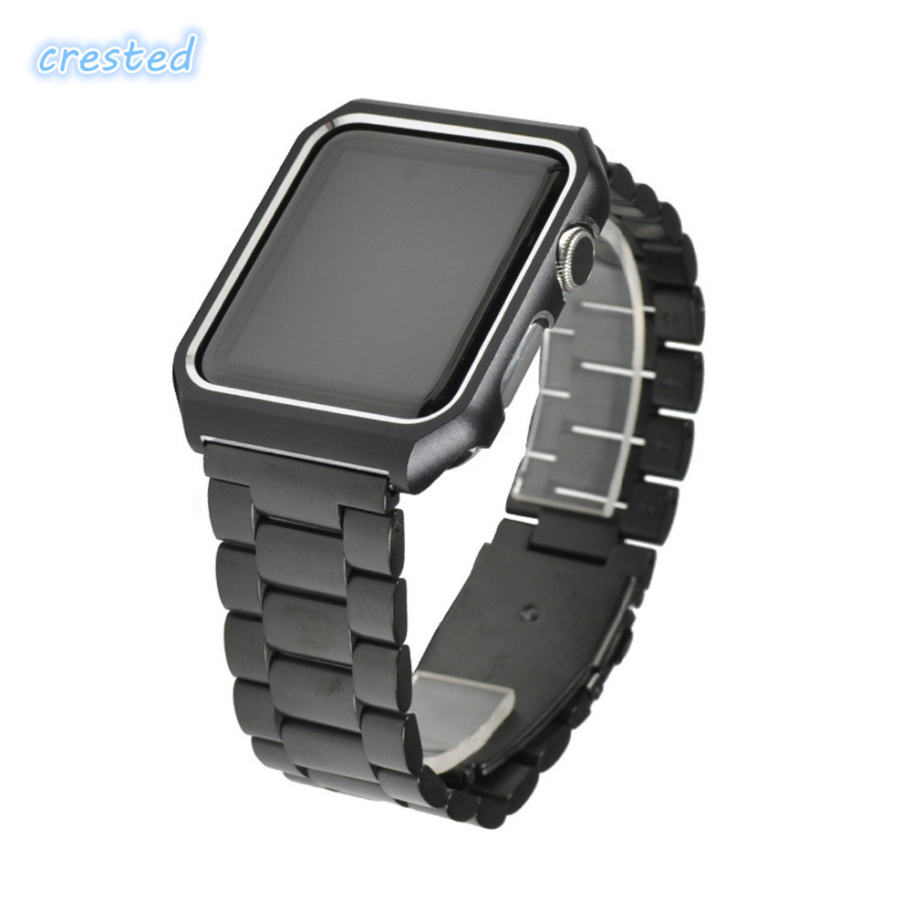 купить CRESTED stainless steel strap for apple watch band 42mm/38mm for iwatch series 3/2/1 wrist watch band with case metal bracelet по цене 635.31 рублей