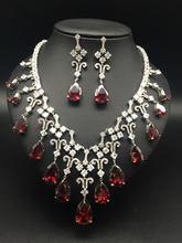 2017 new fashion luxury romantic retro red water droplet zircon necklace earringset,wedding bride dinner party dress jewelry