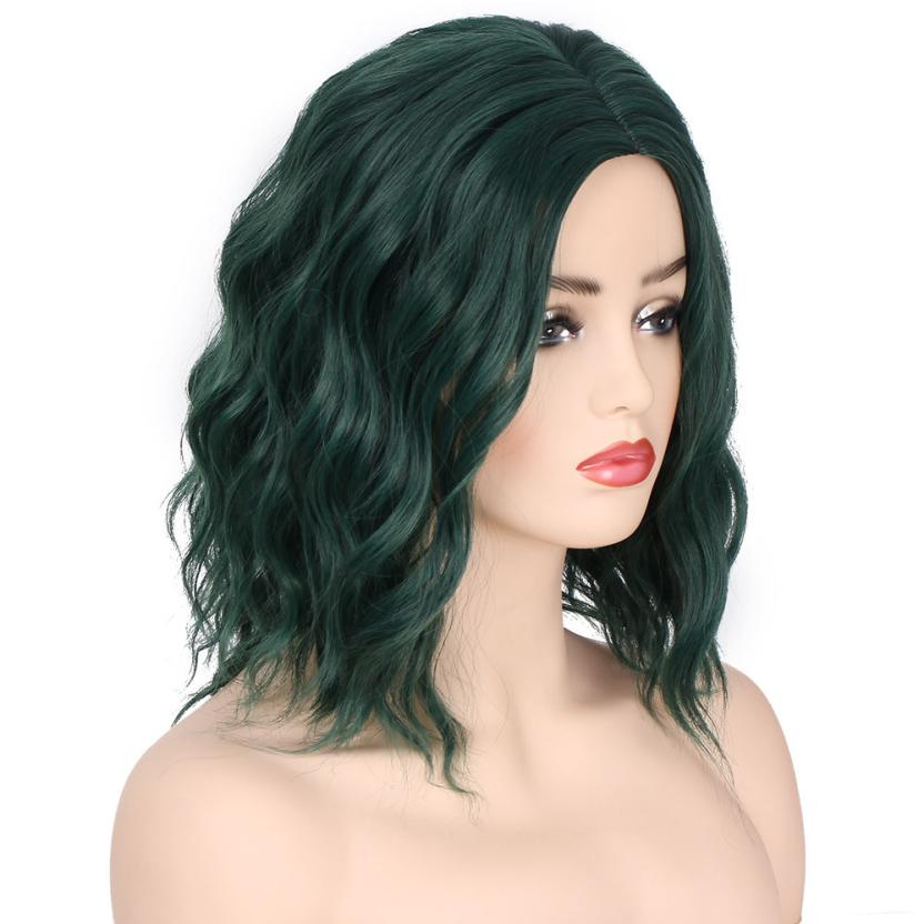 Womens Fashion Lady Dark Green Small Rolls Wig Curly Hair human hair wig 0703
