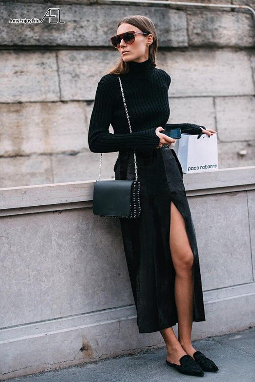 Femme Jupe Velours Mode An Fente Printemps Style Haute Noir Femmes Saia Nouvel Élégante Blogueur Vêtements Ael Taille Midi qHwgUR7x