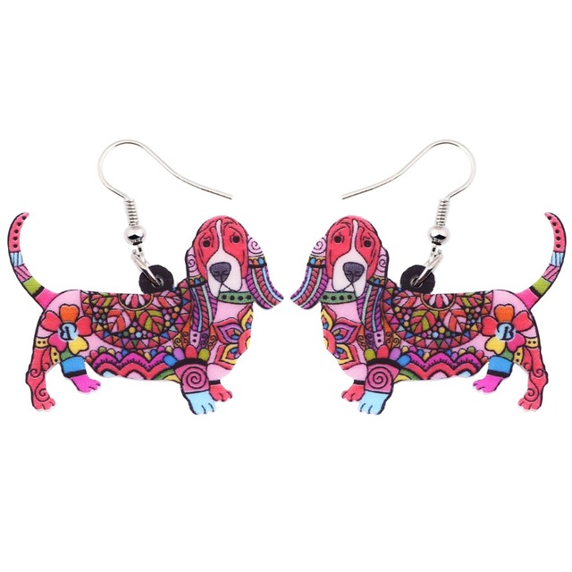 Colorful Basset Hound Shaped Earrings