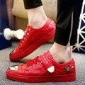 Diseñador de zapatos de los hombres Zapatos Casuales de alta calidad Los Hombres Low top oro Metal Inferior de Goma Roja Revit Hip Hop zapatilla deportivas X082631