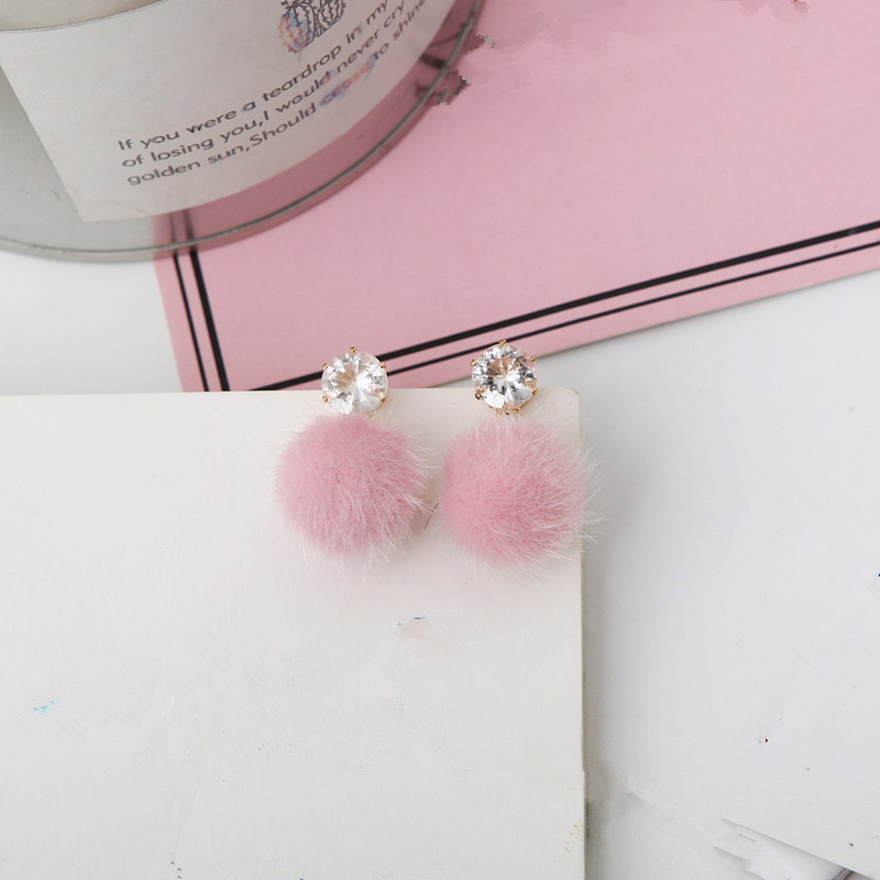 2017 new temperament short paragraph earrings personality wild simple brown hair ball woman's earrings
