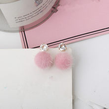 2018 new temperament short paragraph earrings personality wild simple hair ball woman' s earrings(China)