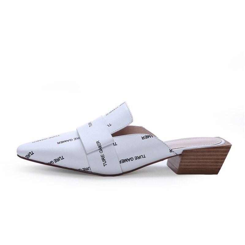 Größe Sommer Maultiere Sexy Schuh Echtem Spitz Heels Mode weiß 2019 Kleine Pumpen Schwarzes Frühling Neuheiten High Frauen Esrfiyfe Leder 41qxA8Zw