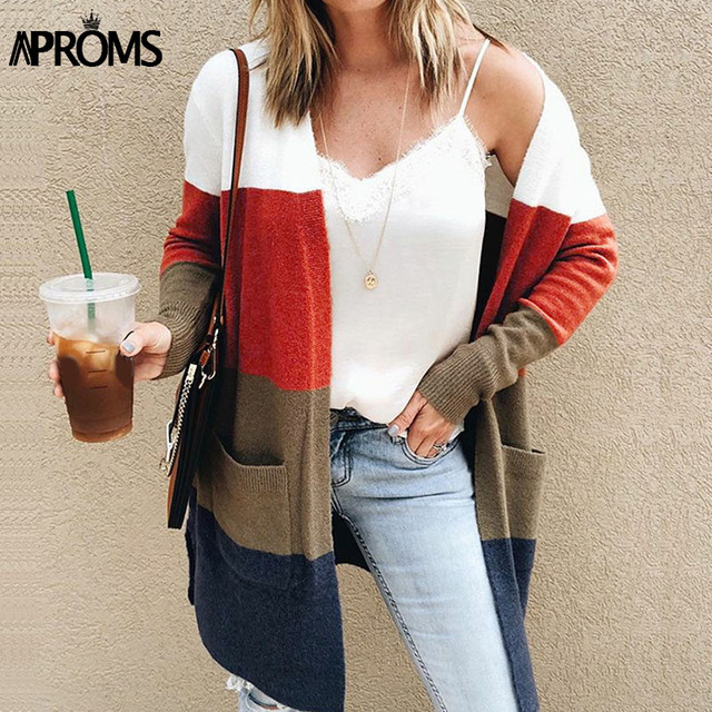 Aproms Multi Color Block Open Front Knit Cardigan Women Elegant Patch  Pockets Collarless Long Sweaters Autumn 5710d8088