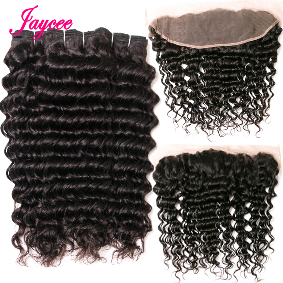 Jaycee Hair 3 Bundles Brazilian Deep Wave With Frontal 13*4 Free Middle Part Ear to Ear Lace Frontal Remy Human Hair Extensions