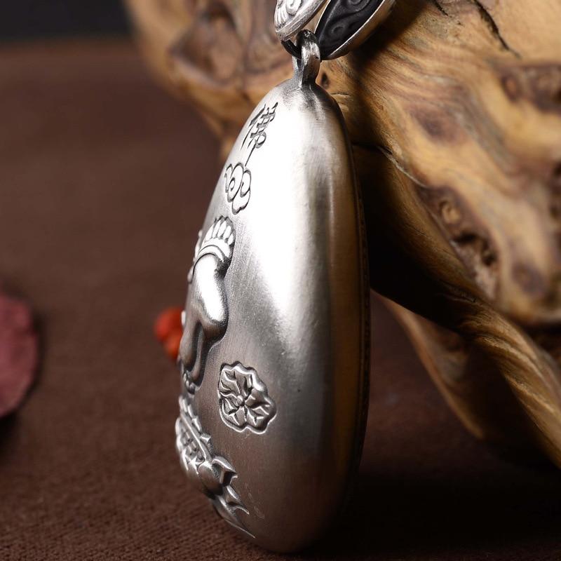 Mots bouddha lotus pieds dos gravé coeur sutra pendentif collier chandail chaîne prix vente directe hommes et femmes - 4