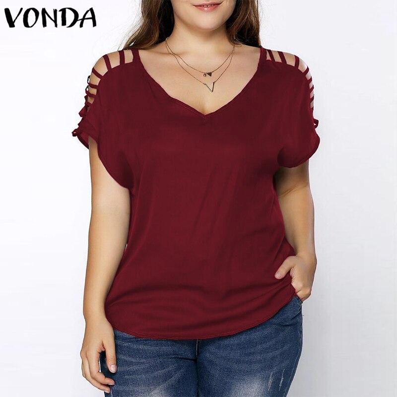 VONDA Women Off Shoulder Blouses 2018 Summer Female Shirts Sexy V Neck Short Sleeve Splice Casual Loose Blusas Tops Plus Size
