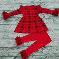 Новый 2017 детский Бутик Одежды Детей Оптом Хлопковые Туники Наряд Красной Глазурью Леггинсы Детские Плед Одежда Наборы