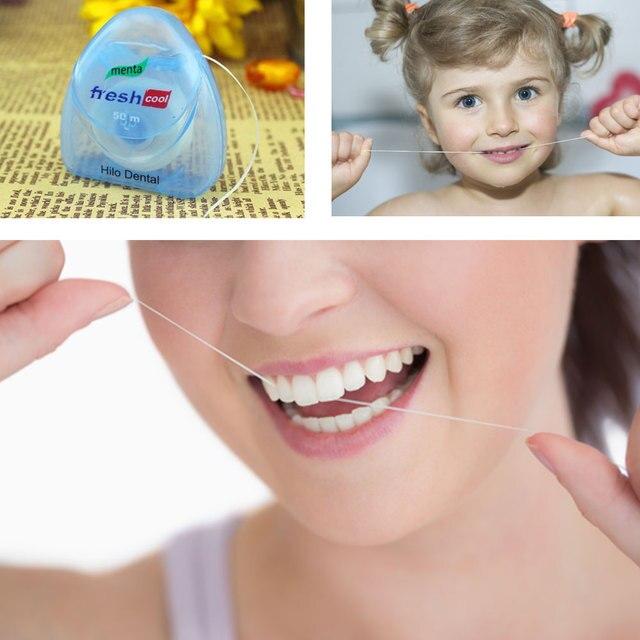 1 piezas 50 m Dental Flosser Stick Cuidado Oral Floss Toothpick limpieza Interdental ortodoncia cuidado bucal cepillo de dientes