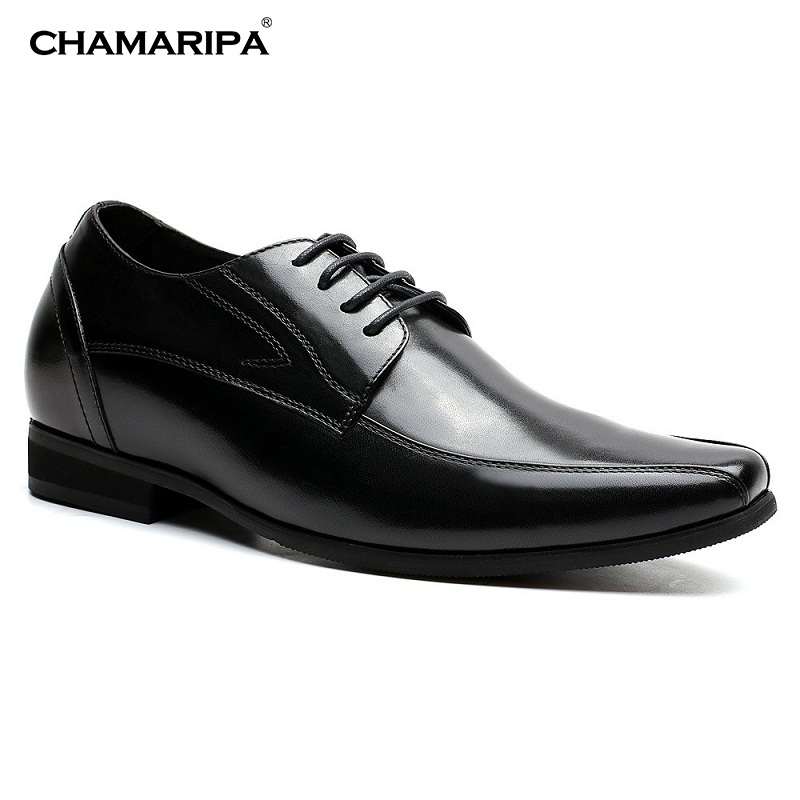 CHAMARIPA  Elevator shoes  Black Men Dress Shoes Increase Height 7cm/2.76 inch Taller Gentlemen shoes Hidden Height D12K01 chamaripa increase height 7cm 2 76 inch elevator shoes increase height shoes men business formal black shoes