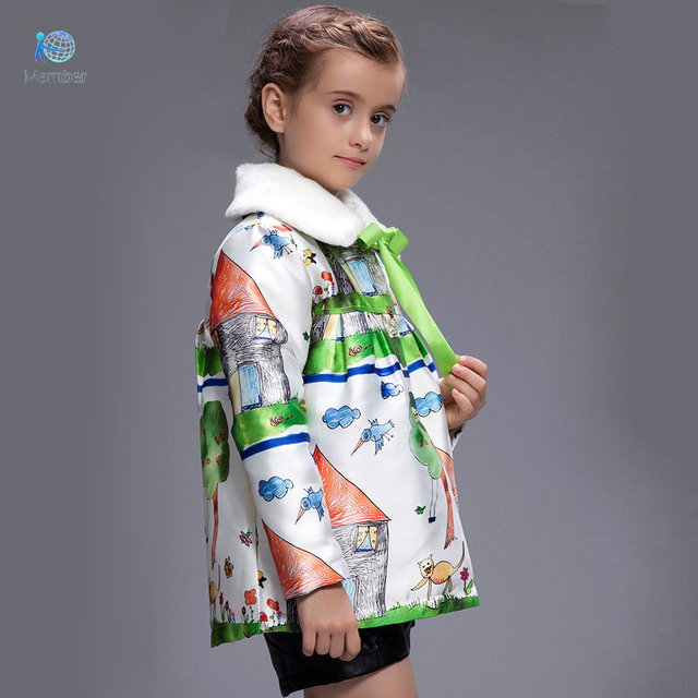 Children's winter jackets girls clothes Thickening and wool fleece of the girls Printed with collars coat kids winter coats 30#