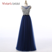 Sparkly Blue Long Prom Dresses 2016 Fast Shipping Tulle Sequin Floor Length Beaded Sexy Elegant Rhinestone