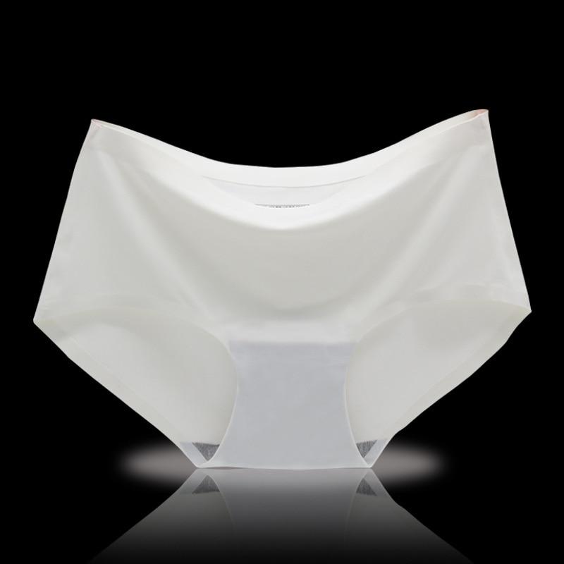 BRZFMRVL High quality white big size briefs Girl Underwear Sexy Cotton Panty Fashion lady Seamless Briefs summer ice silk briefs