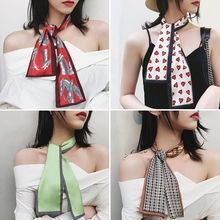 LARRIVED Scarf Women Cute Hair Tie Band Kerchief Wrist Ribbons Fashion Head Neck Silk Satin Scarfs Long For Ladies