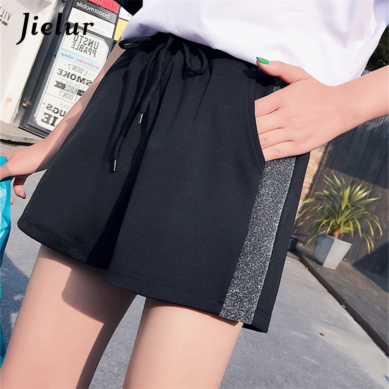 Jielur Comfortable Shorts Elastic Korean-Style High-Waist Summer Casual Femme Loose M-XXL