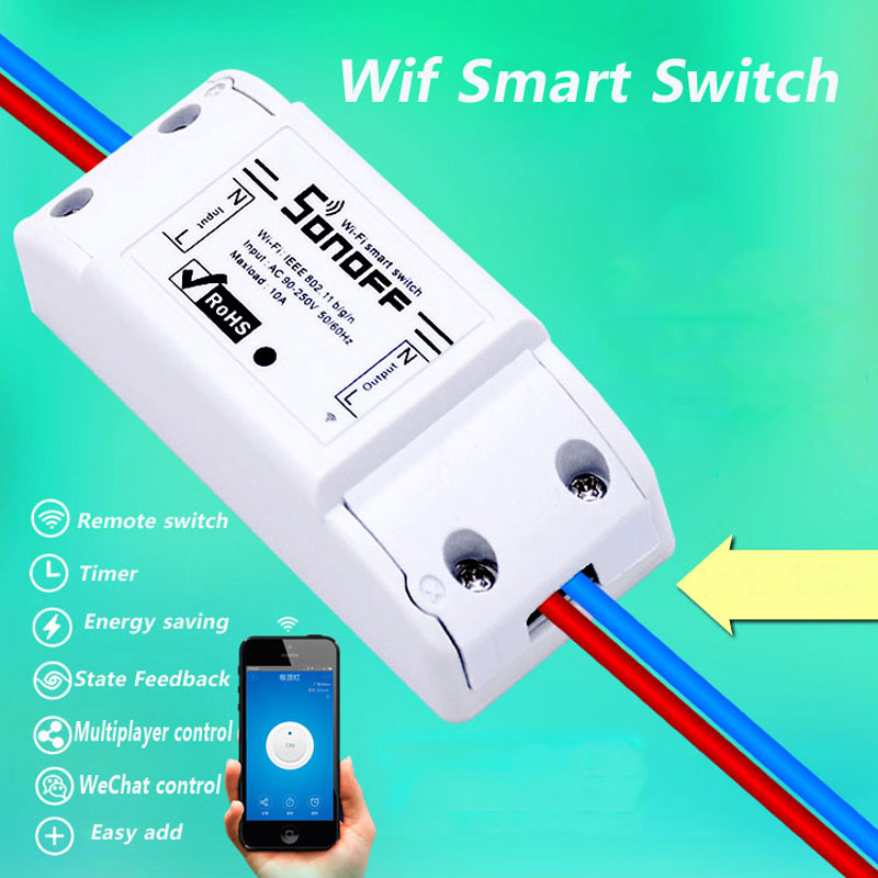 Itead Sonoff Smart Remote Control Wifi Switch Diy Timer უკაბელო შეცვლა, Sonoff S20 EU Smart WiFi Socket, Smart Home 10A / 2200W