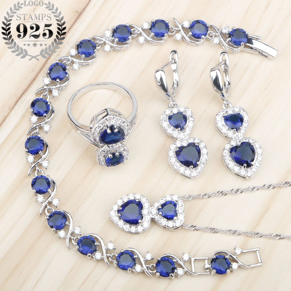 Blue Zircon Heart Silver 925 Women Jewelry Sets Necklace Charms Bracelets Earrings Rings With Stones Free Jewelery Gfit Box