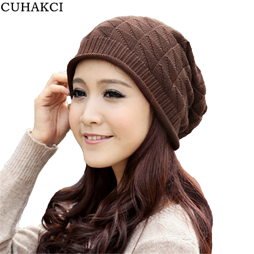 CUHAKCI Skullies Plaid Caps Winter Hat Knitted Wool Beanies Fashion Crochet Ski Hats For Women Brown Black Gray M049 skullies