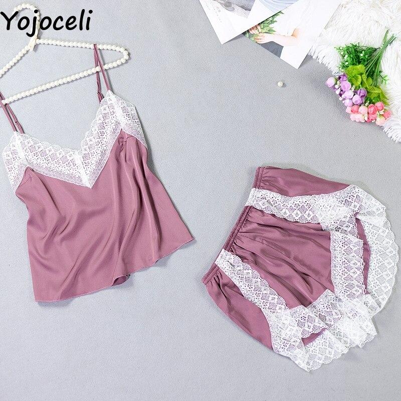 Yojoceli Sexy lace strap women two piece   pajama     set   Summer satin sleepwear   pajamas   female elegant pyjama femme