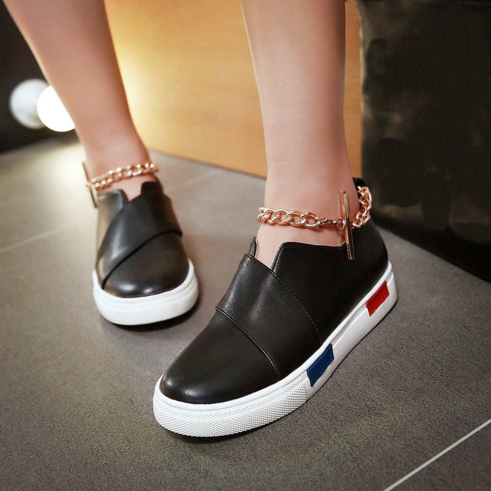 ФОТО 3 Colors Lively Women Casual Shoes Elegant Chains Round Toe Cool Shoes Woman US Size 4-12