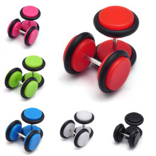 PINKSEE 2Pcs Stainless Steel Fake Cheater Ear Plug Gauge Illusion Women Men Punk Style Acrylic Body Piercing Jewelry Accessories