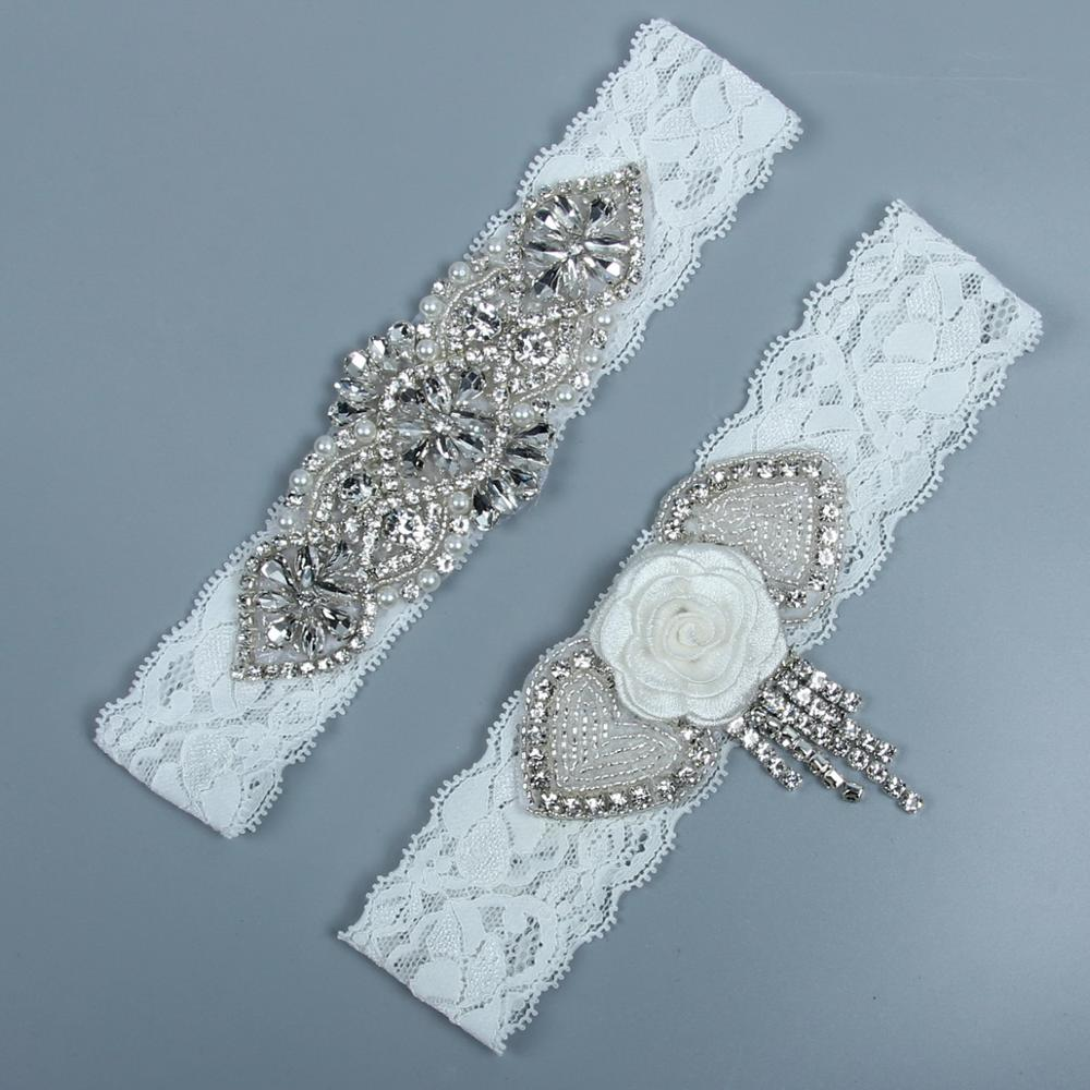 Super Luxury Shiny Rhinestone Wedding Garter Belt Set