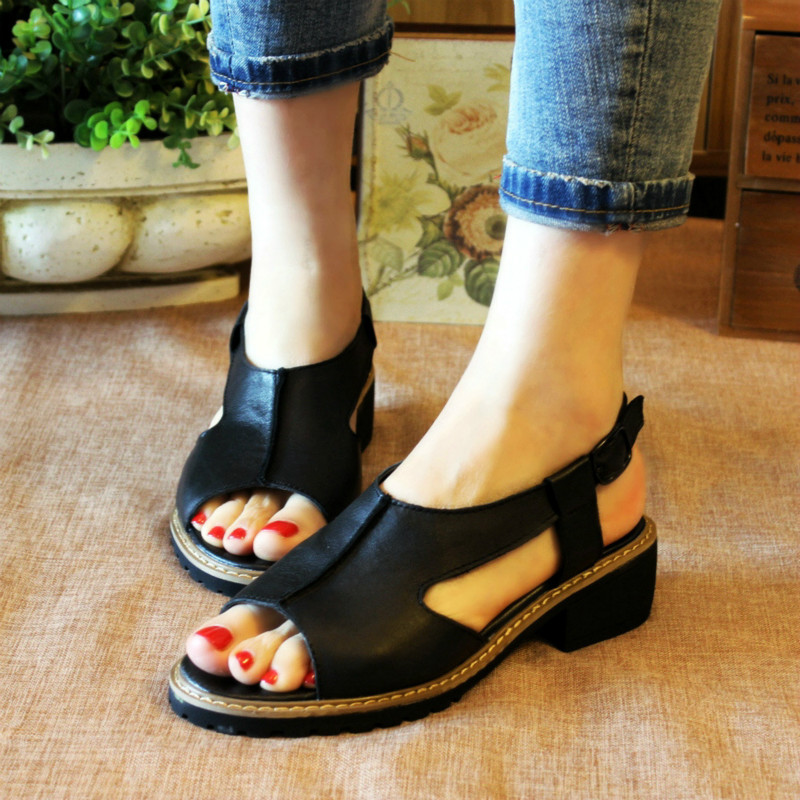 Womens black low heeled sandals