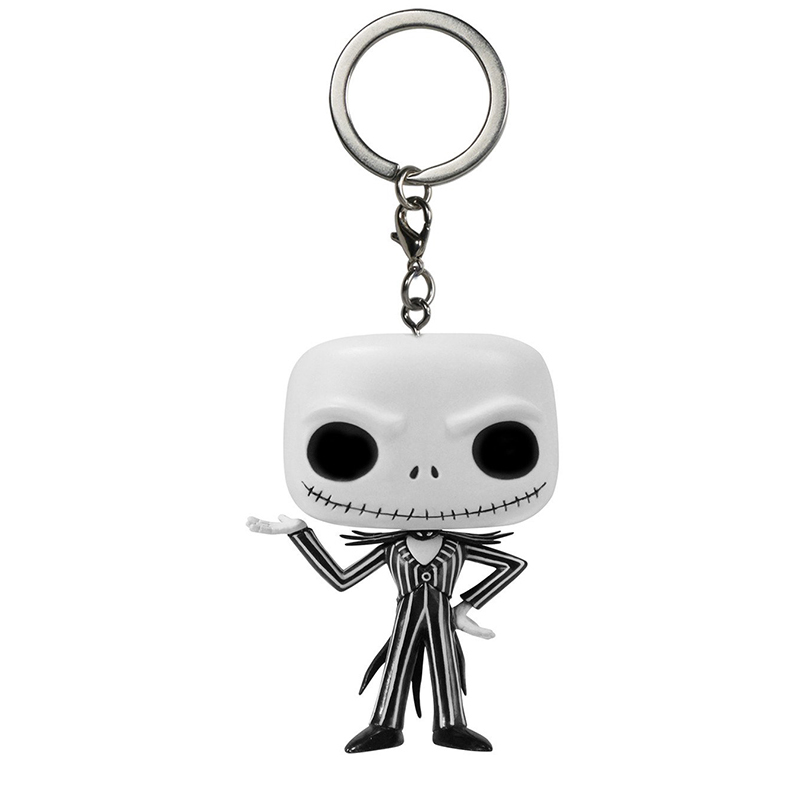 Funko Pop Key Chains Nightmare Before Christmas Q Version Doll Key Fob Jack Skellington Car Key Chain for Men Pendant SP1633 funko pop keychains harry potter series q version key ring hermione granger lord voldemort severus snape dobby key fob sp1632