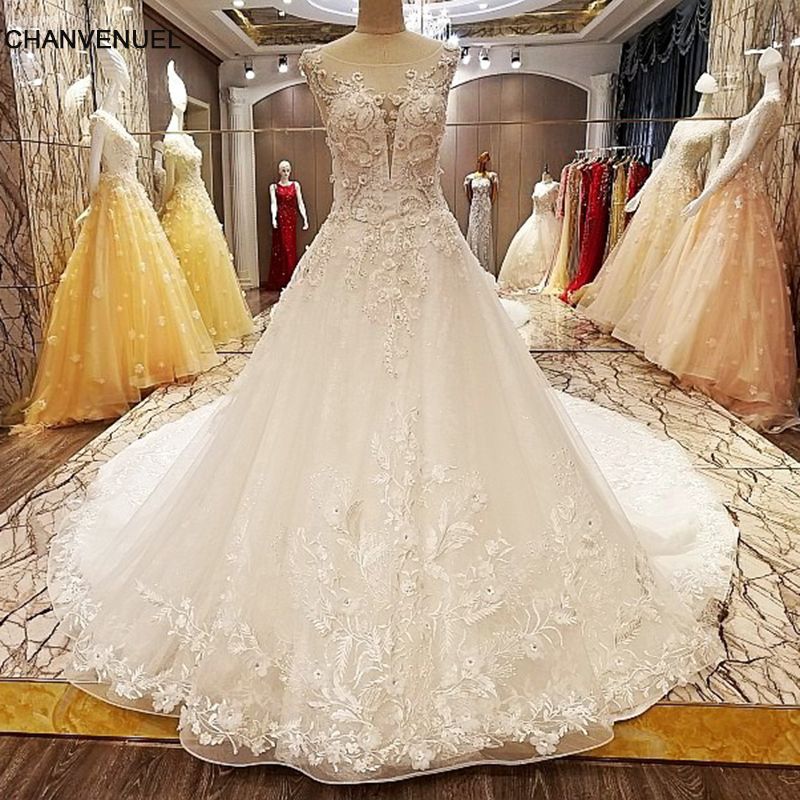 LS5321 robe de mariage 2018 lace up on two sides floor length ball gown lace wedding dresses organza real photos