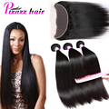Brazilian Hair Weave Bundles With Closure 13x4 Lace Frontal With Bundles Straight 3 Bundles Lace Frontal Weave 7A Brazilian Hair