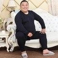 Бесплатная Доставка Мужчины Большой Размер Термобелье О-Образным Вырезом Пижамы Мягкая Зима Плюс бархат Пижамы Ночной Рубашке Домашней Одежды 3XL-5XL